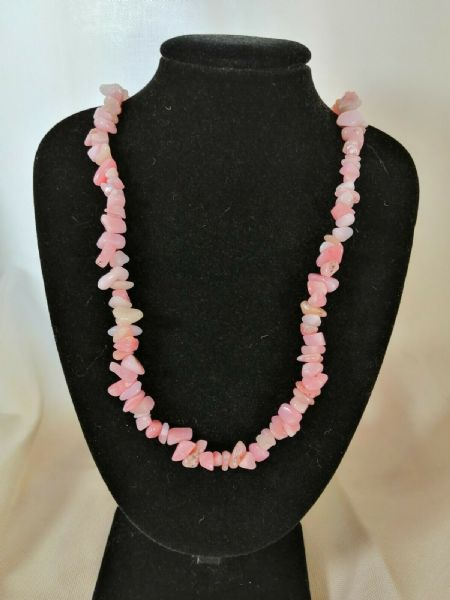 "Pink Opal Chip Necklace 16"" to 34"", Long Necklace, Short Necklace"
